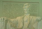 Double exposure of Lincoln Memorial and Gettysburg Address