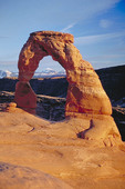 Late day sun on Delicate Arch in Arches National Park.