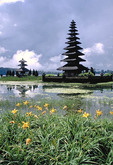 Scenic landscape of Pura Ulan Danu and Lake Bratan in Bali.