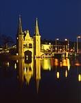Waterpoort at night town of Sneek