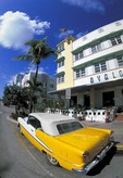 Old car on Ocean Drive in South Miami Beach