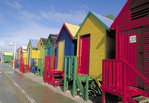 Colorful beach houses in Cape Town