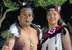 Native Maori warriors in costume
