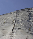 Hikers going up Half Dome in Yosemite