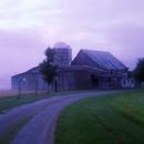 Barn in summer with fog