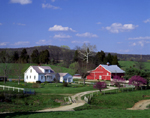 Old farm and red barn