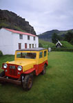 Nupsstadur Farm and 13th Century Chruch with old English Willis Jeep