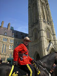 Royal Canadian Mounted Police officer on duty before Canadian Parliament in Ottawa