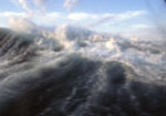 Aboard Ship, view from porthole, stormy weather