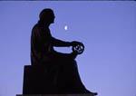 Statue of Copernicus with moon outside Adler Planetarium