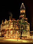 Historic Washington County Court House at night, with Christmas lights