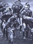 Rugby scrum in the rain