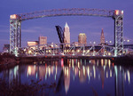 Skyline of Cleveland, Ohio taken from the flats with Cuyahoga River in foreground