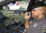 Black policeman at work