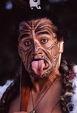 Native Maori Costume, Man with face paint
