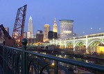 Cleveland Ohio skyline from west bank of Cuyahoga River
