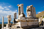 Historic Roman ruins shwoing the Memmius Memorial at Ephesus, Turkey