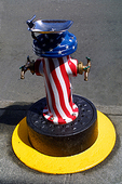 water fountain painted with US stars and stripes Anacortes, Washington, USA