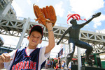 Young boy outside  Jacobs Field, home to Cleveland Indians baseball