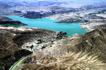 Aerial view of Afghanistan mountains and damn