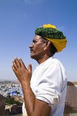 Hindu man with turban in beautiful BLUE CITY of Jodhpur at Fort Mehrangarh in Rajasthan India