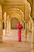 Hindu gentle woman posed at Amber Fort temple in Rajasthan Jaipur India