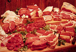 Large display of raw meats