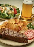 Steak and beer meal
