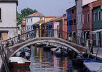 Inner canal on the Island of Burano in Venice, Italy