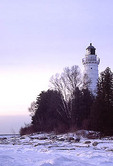 Winter scene at dawn with the Cana Island Lighthouse