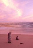 Wispy cloud patterns and beach reflect the sunset glow on the Lake Michigan shoreline. Ludington State Park, Michigan