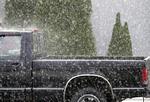 Pick-up truck in Summer rain storm.