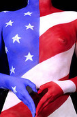 Graphic Nude study of woman painted like the american flag