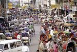 Busy streets and market scene of downtown Dhaka, Bangladesh