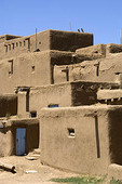 The adobe building of the North Pueblo dating from 1450. Taos Pueblo, New Mexico