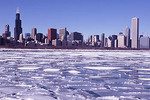 Chicago in the winter with frozen Lake Michigan