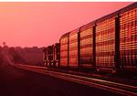 West bound  Union Pacific RR autorack train at sunset