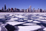 Chicago skyline in winter with frozen Lake Michigan