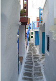 Beautiful scenic color of white buildings and downtown village of beautiful island of Mykonos Greece