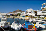 Beautiful island of Paros Greece  in Greek Islands and beautiful boats in harbour of Pisso Livadi on East Coast of Paros