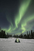 Northern lights and tent in Alaska.