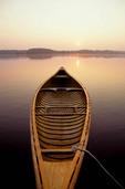 Canoe on a lake.