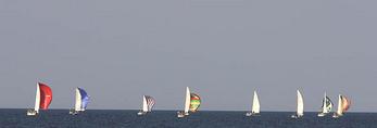 Colorful sailboats on lake Erie, Ohio.