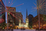 Colorful holiday lights at Public Square in Cleveland.