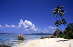 Beautiful tropical scene of the famous rocks and beach at La Dique in the Seychelle Islands of Africa.