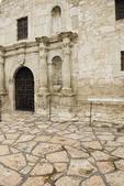 Front entrance detail of the Alamo in downtown San Antonio, Texas.