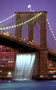 The Brooklyn Bridge waterfall (Public Art Installation) in Brooklyn, NY.