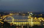 The aerial view of Budapest, Hungary at night.