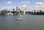 Sailboat on Lake Erie with Cleveland skyline in the background.