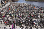 A huge plaza filled with bicycles in Malmo, Sweden.